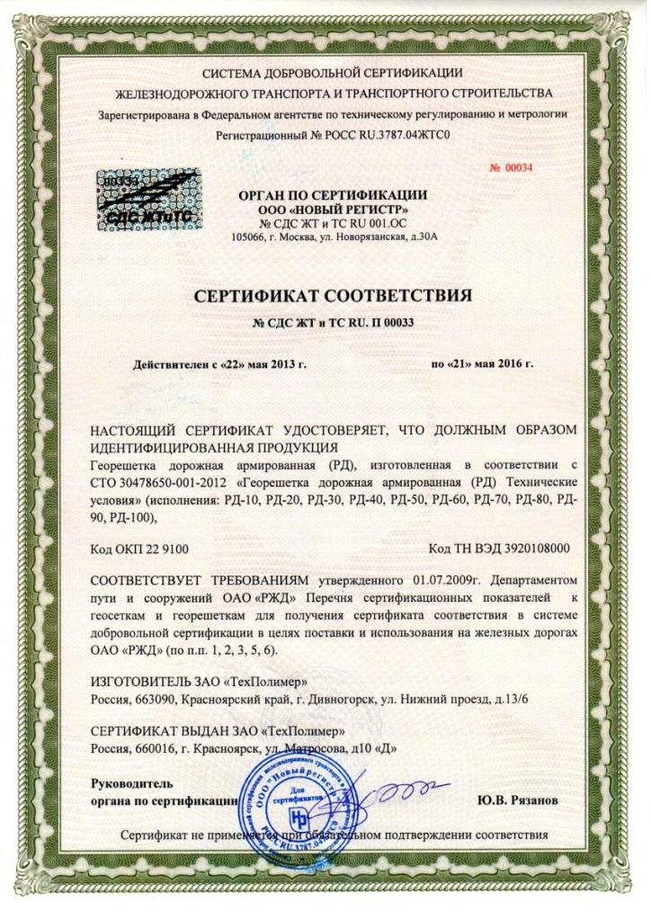 сертификат георешетка геостаб